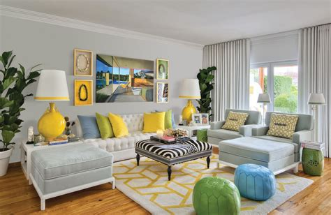 mustard grey and white living room