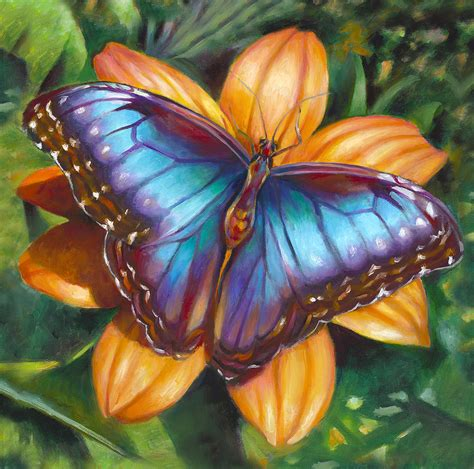 painting butterfly blue morpho butterfly by nancy tilles