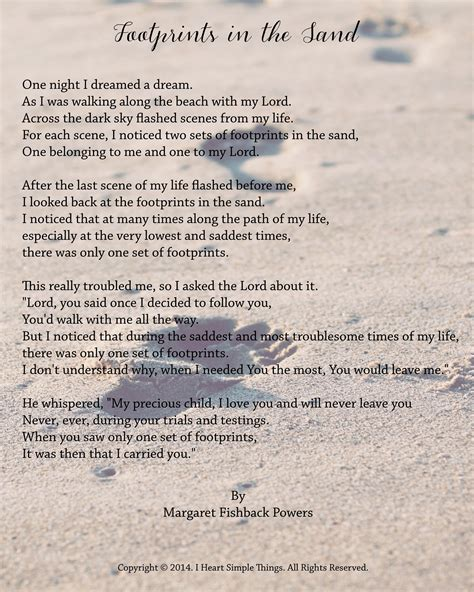 printable version of footprints in the sand poem best photos of printable footprints in the sand