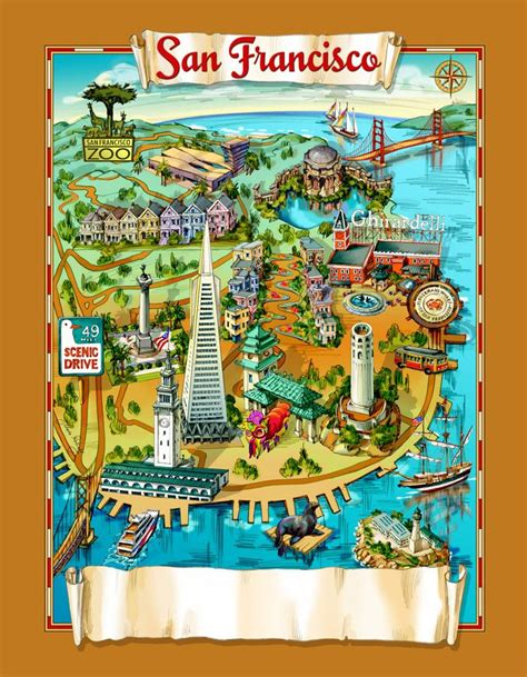 san francisco map attractions san francisco attractions map maps and landscapes