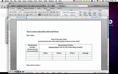 how to create a data table in ms word youtube