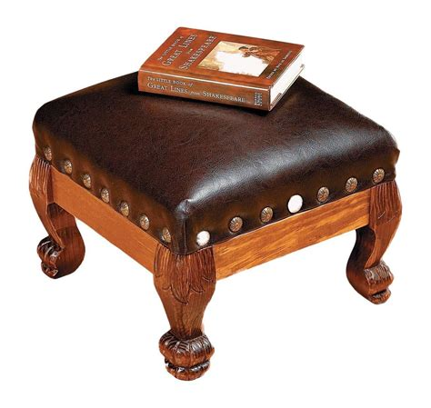 leather hassock ottoman brown faux leather wood footstool foot stool rest hassock