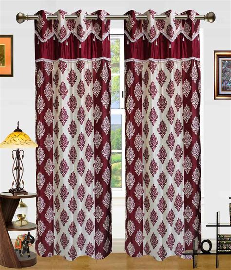 beige and red curtains dekor world set of 2 window eyelet curtains contemporary