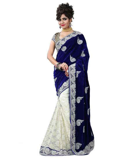 Orderan A N Sari stylo sarees blue velvet saree buy stylo sarees blue velvet saree at low price