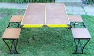 vintage fold up picnic table handy table and chair set by