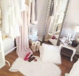 fashion bedroom ideas garment rack furry rug body mirror furry pillows little table for makeup house decor