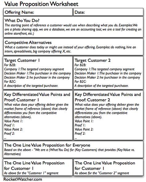value proposition template a startup value proposition worksheet rocket watcher