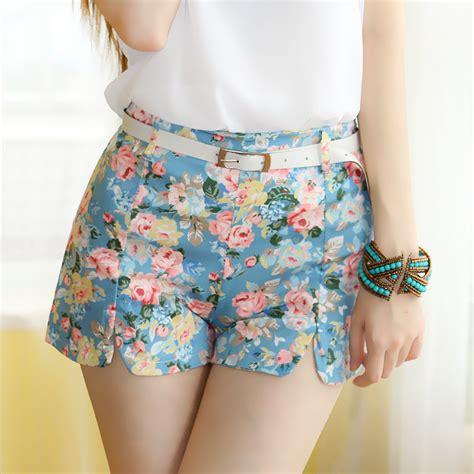 new 2015 summer shorts with flower pattern high waist