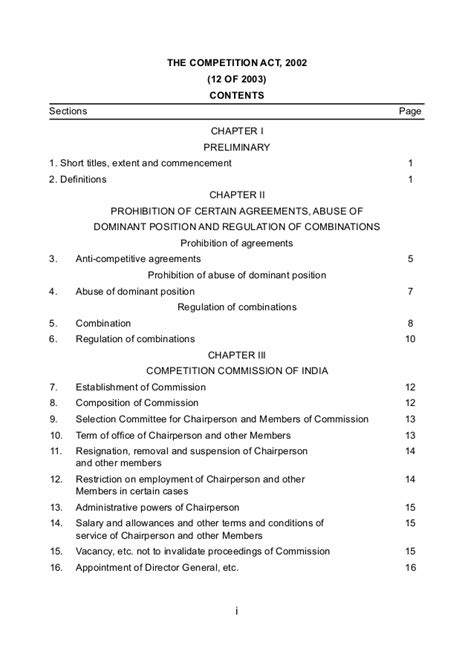 Competition Act 2002 Notes For Mba by Bare Act The Competition Act 2002