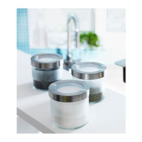 ikea kitchen storage jars droppar jar with lid frosted glass stainless steel 0 4 l