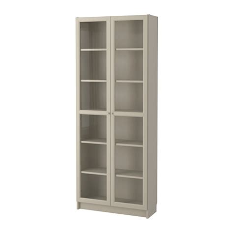 Ikea Bookcase With Glass Doors Billy Bookcase With Glass Door Beige 80x30x202 Cm Ikea