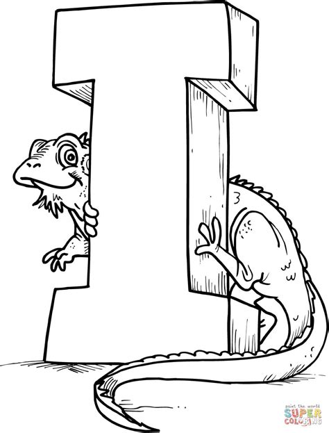 letter i is for iguana coloring page free printable