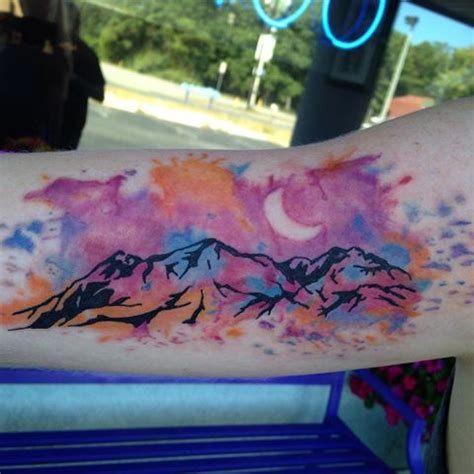 watercolor mountain tattoo watercolor mountain designs ideas and meaning