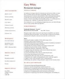 restaurant resume template restaurant manager resume template 6 free word pdf