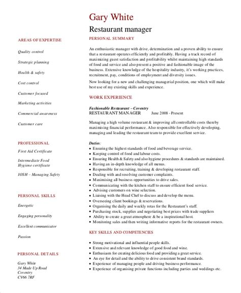 restaurant resume templates restaurant manager resume template 6 free word pdf