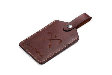 Leather Tag personalised leather golf bag tag by carve on