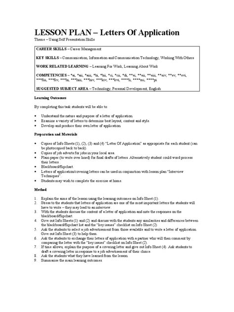 Application Letter Lesson Plan Lesson Plan 11 Letters Of Application Information Advertising