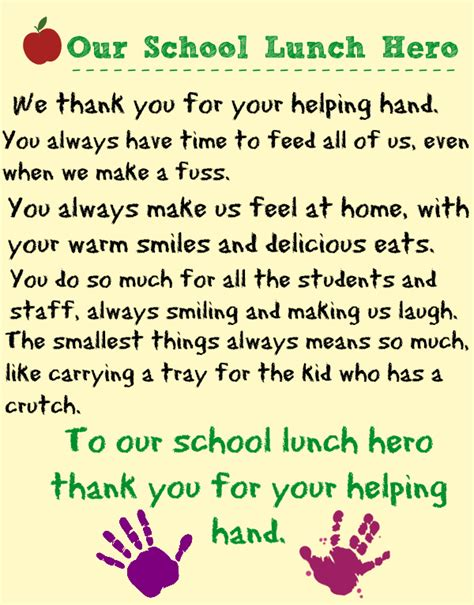thank you letter to entire staff celebrating school lunch day our ordinary