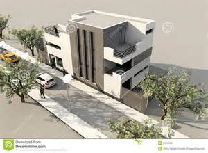 3d modern house render in 3ds max on white backg royalty