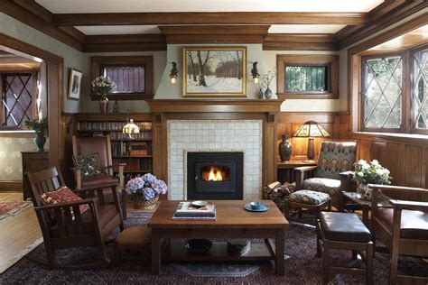 bungalow interiors arts and crafts arts and crafts cottage craftsman fireplace trehus architects