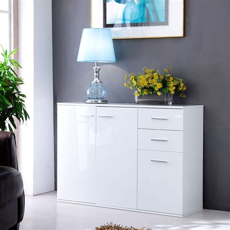 white gloss wall units living room modern white high gloss sideboard cabinet 3 door 2 drawers living room wall unit ebay