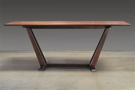 leaning trestle dining table maine contemporary