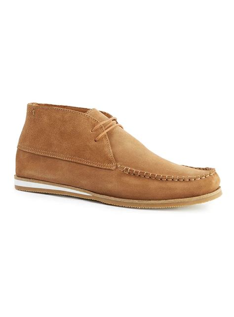 brown chukka boots topman suede chukka boots in brown for lyst
