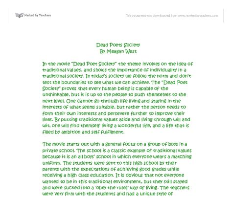 Dead Poets Society Essays by Dead Poets Society Response Essay