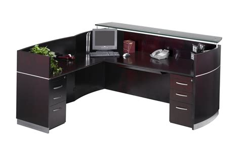 L Shaped Reception Desk Counter Mayline Nrslbb Napoli L Shaped Reception Desk With 3 Drawer Pedestals