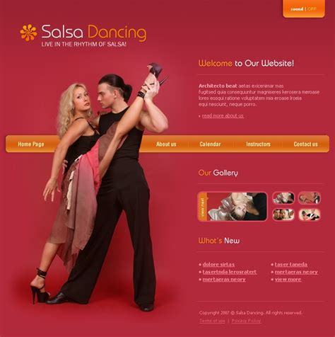 templates for dance website dance studio flash template 16765