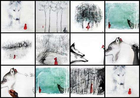 little red riding hood and wolf illustration the wolf and the little red riding hood illustration by