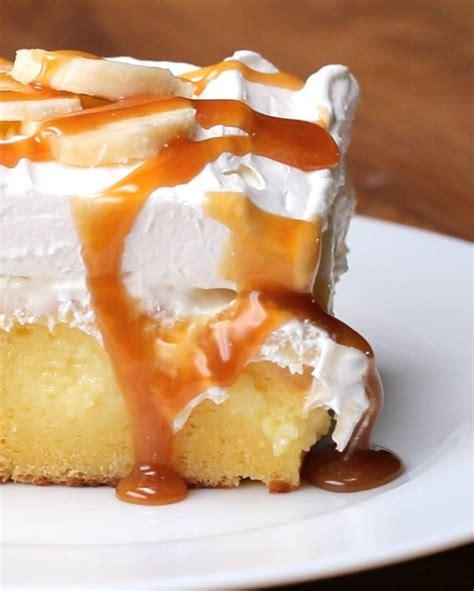 banana yellow box cake banana poke cake food pinterest videos cakes and