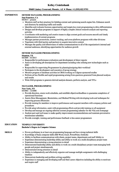 Programming Resume by Manager Programming Resume Sles Velvet