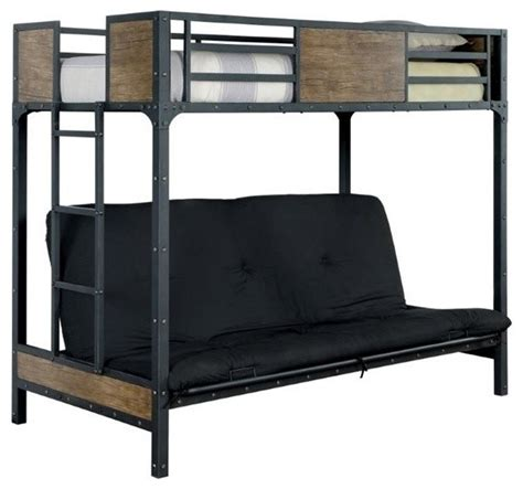 industrial twin bed furniture of america clapton loft bed with futon mattress