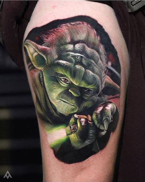 yoda tattoo designs wars 3d yoda by luka lajoie