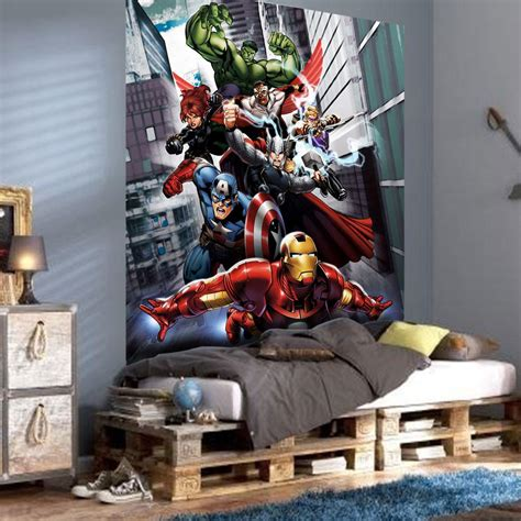 marvel wall mural marvel assemble photo wall mural room decor wallpaper free p p ebay