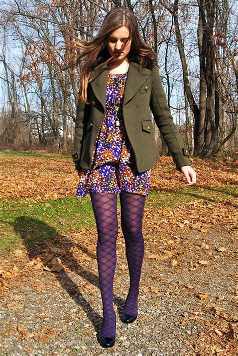patterned tights lookbook rory f forever 21 floral dress hue patterned tights