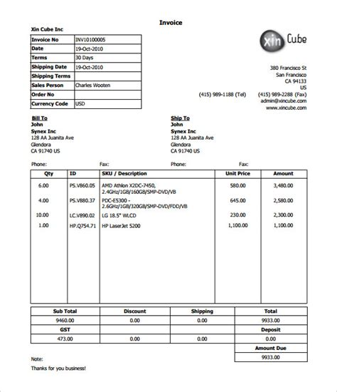 delivery invoice template computer bill format doc rabitah net