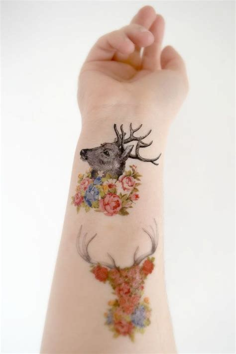 woodland tattoo designs 3 floral deer temporary s woodland floral