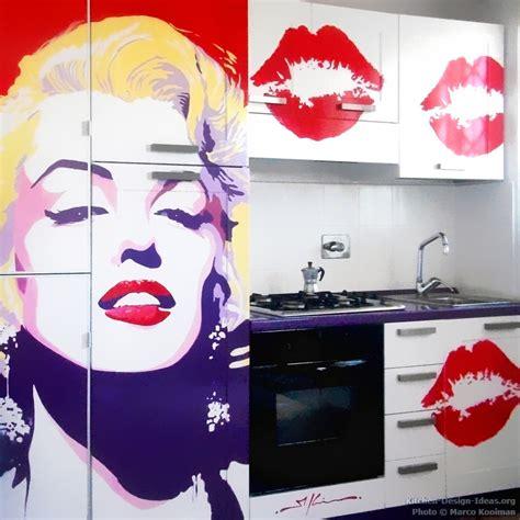 kitchen art design marilyn monroe pop art kitchen mural