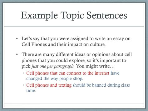 Exle Of A Topic Sentence For An Essay by Week 4 Introducing Essay 1 Ppt