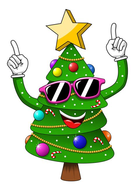 funny cartoon christmas tree vector  vector cartoon