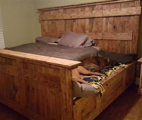 dog side bed this wooden king bed frame leaves extra space for your dogs