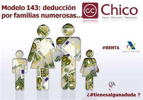 deduccion especial 4ta categoria 2016 modelo 143 deducci 243 n por familia numerosa o personas