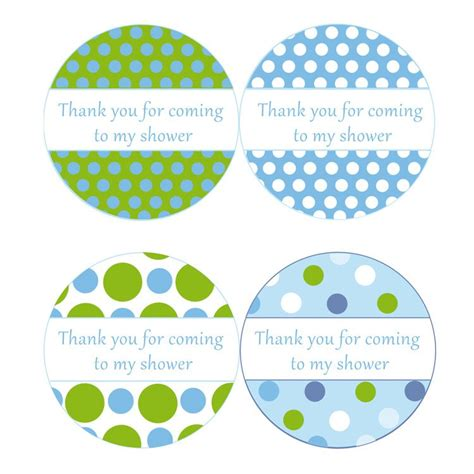Thank You Card Template Baby Shower Tags by Instant Blue Green Polka Dots Baby Shower By