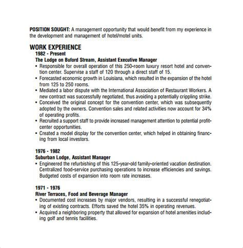 Restaurant Resume Template by 9 Sle Restaurant Resume Templates To Sle