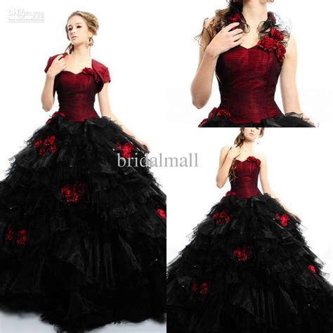 2015 red and black quinceanera dress sweetheart organza