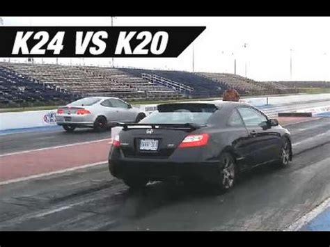 acura rsx vs civic si k24 swapped rsx vs k20 civic si track day