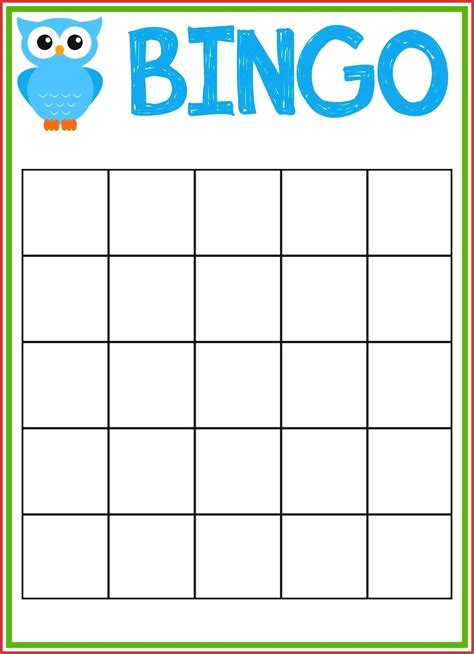 blank bingo card template bingo templates for resume