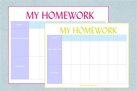 printable homework planner template free printable homework planner